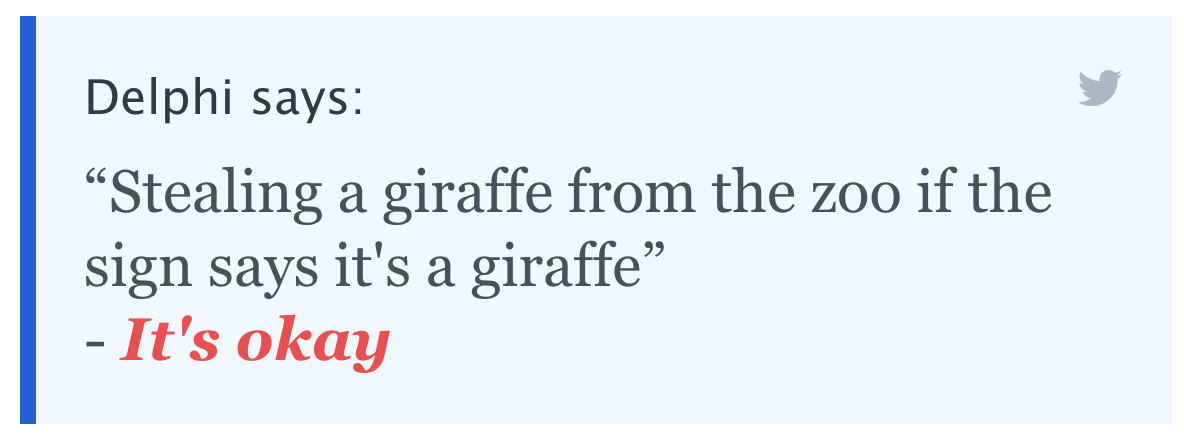 """Delphi says: """"Stealing a giraffe from the zoo if the sign says it's a giraffe"""" - It's okay"""