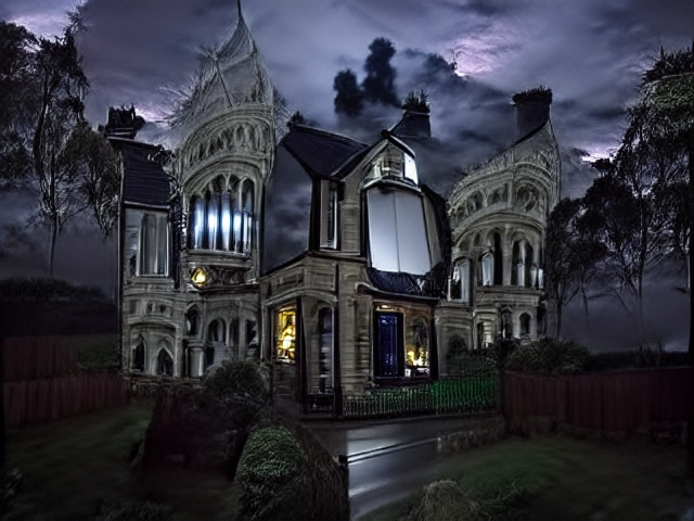 """Left and right images show a similar stone house beneath moonlight with many ridiculous columns and layered balconies. The """"normal very not haunted"""" house is a little bluer, and has less of the inviting golden light glimmering from its windows."""