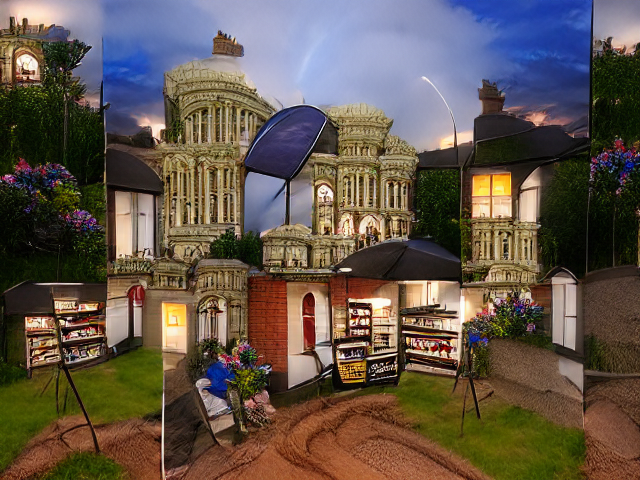 A fancy house in golden stone surrounded by sprays of blue and red flowers. The light of a sunset storm illuminates its complicated pillars and balconies, and from the red brick rooms on the ground floor there are several invitingly lit cases that seem like they would contain ice cream and snacks.