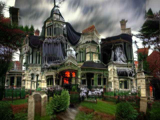 Ominous red glows from within the ground floor of a white stone house, while black draperies or possibly cobwebs, or possibly bones, drop from green-tinted balconies.