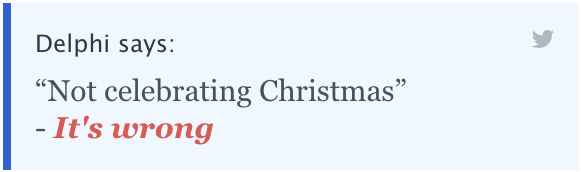 """Delphi says: """"Not celebrating Christmas"""" - It's wrong"""