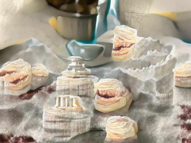 A white jagged background with crescents of toothlike mountains and possibly Grecian columns. Scattered among these are sandwich cookies cracked open to reveal a greyish burgundy filling.