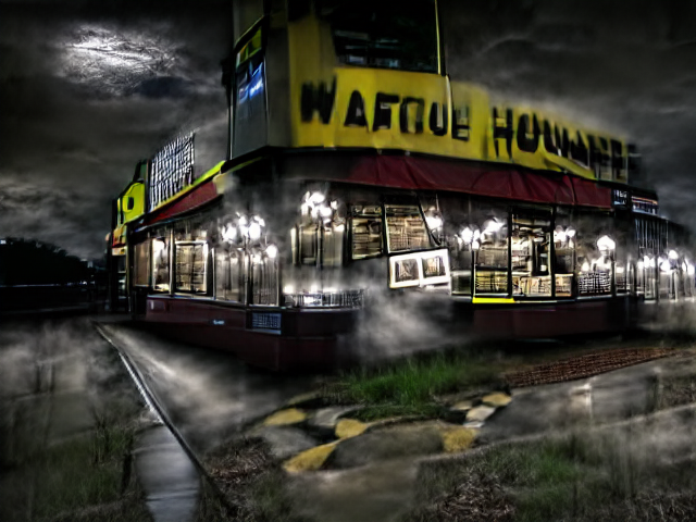 """The moon shines from the clouds onto a Waffle House, brightly lit from within by cold white chandeliers. There's mist everywhere, and it has just rained. The words """"waffle house"""" are distorted almost beyond legibility."""