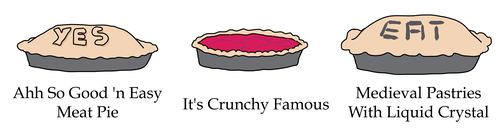 it's crunchy famous, ahh so good 'n easy meat pie, medieval pastries with liquid crystal