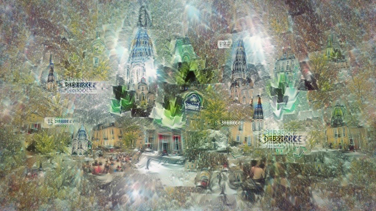 A gleaming city with spires and yellow-walled streets, with strange sparkling green crystals everywhere. Barely visible in several places is the word Sherbrooke.