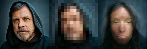 Left: Luke Skywalker (The Last Jedi, probably) in a blue hood. Center: Highly pixelated version of the lefthand image. Right: Restored image is a white person facing the camera straight on - instead of a hood, they have wispy hair, and the lips are where Luke's chin used to be.