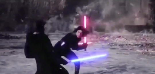 mid-fight, with luke and kylo dodging around each other