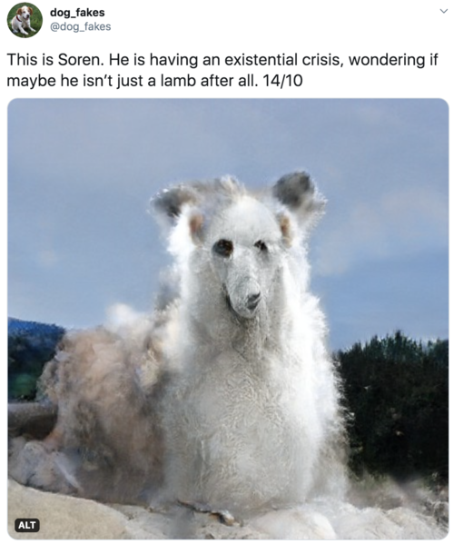 This is Soren. He is having an existential crisis, wondering if maybe he isn't just a lamb after all. 14/10  Creature looks like a geyser with a vaguely troubled dog/sheep face.