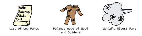 pajamas made of wood and spiders, world's nicest fart, list of leg parts