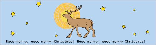 reindeer against the night sky, a halo behind its head. Caption reads Eeee-merry, eeee-merry Christmas!