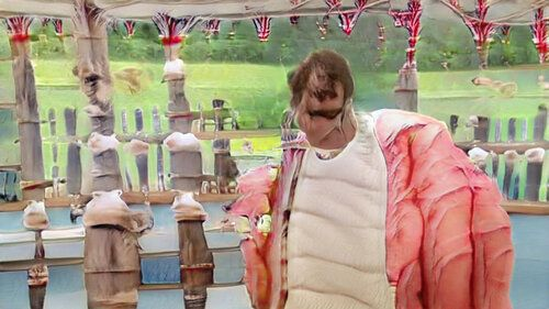 Another view of the bakeoff tent with rather nice bunting. There's periodic fenceposts everywhere, apparently topped with meringues. The person is very large and has repetitive wrinkles like the segments of a grub. They're wearing some kind of blazer but have too many arms.