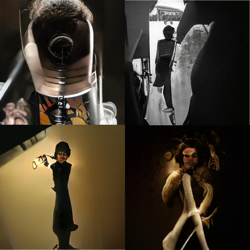 Four images with dramatic dark contrasts. Upper left might be a microphone shape with either a furry sound baffle or a head of gray human hair. The rest look like humans.