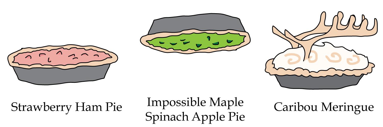 Strawberry Ham Pie, Impossible Maple Spinach Apple Pie, Caribou Meringue Pie