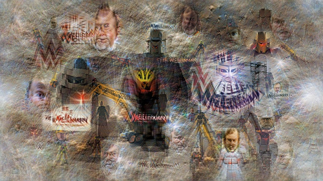 """Collage of ominous dark helmeted and caped figures (they kind of look like Lord Buckethead), some bright yellow cranes, and some faces that look like middle-aged white men. """"Wellerman"""" is written in several places as a semi-legible logo."""
