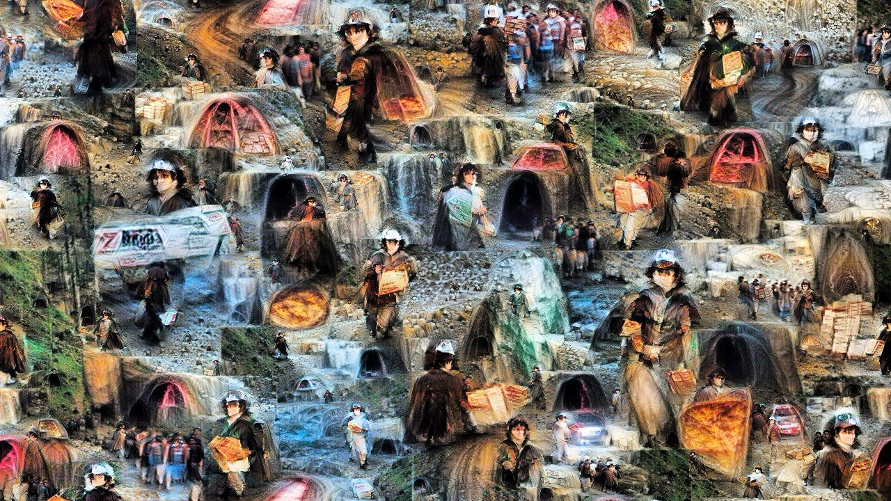 It's a confusing jumble of Frodo Bagginses, all cloaked, some in pizza delivery caps, many bearing pizzas or boxes, striding out from the ominous openings of many mines