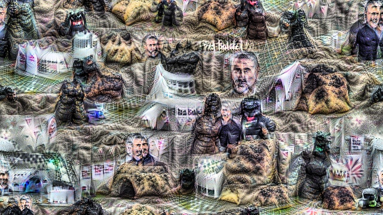 Paul Hollywood from the Great British Bakeoff is unmistakeable, and repeated several times. Godzilla is less distinct, but vaguely godzilla-shaped and godzilla-textured