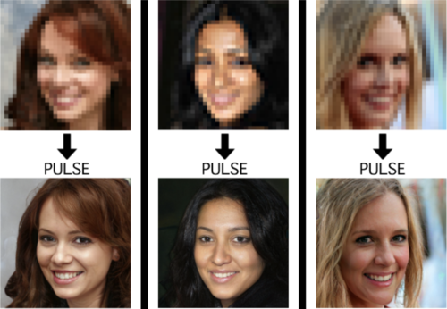 Three pixellated faces are turned into higher-resolution versions. The higher-resolution images look pretty realistic, even if there are small weirdnesses about their teeth and hair