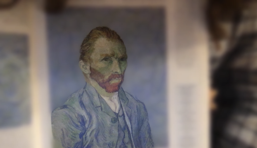Van Gogh self portrait. The background of the portrait is blurred.