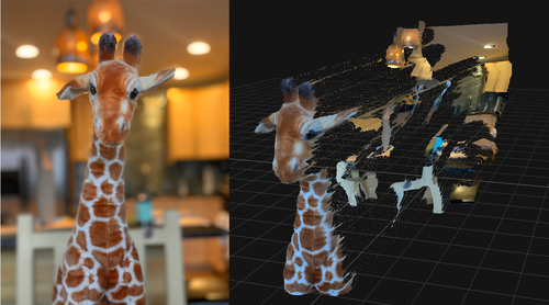 Plush giraffe in front of a kitchen. The giraffe is now in focus, and the background looks artistically blurred. Right: Depth map showing that the giraffe is indeed in the foreground.