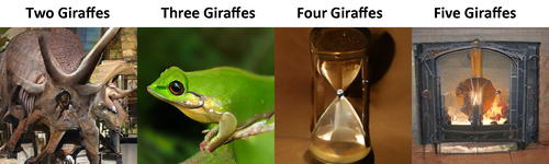 Two giraffes: at first glance it's a horrible tentacled eye, but it does kind of look like a triceratops too.  Three giraffes: It's a green tree frog  Four giraffes: It's an hourglass  Five giraffes: It's a fireplace