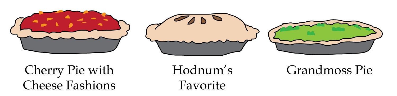 Cherry Pie With Cheese Fashions, Hodnum's Favorite, Grandmoss pie