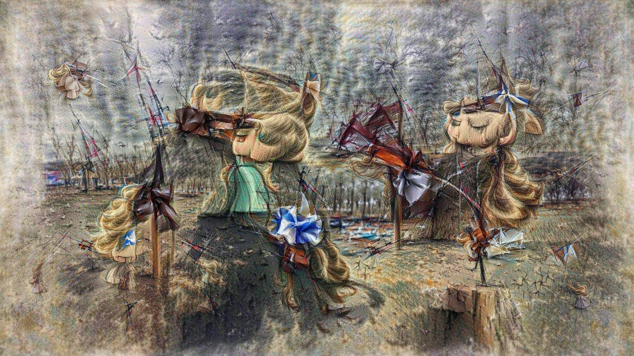 A windswept landscape with tresses of blond hair everywhere, along with what might be ruffled bows.