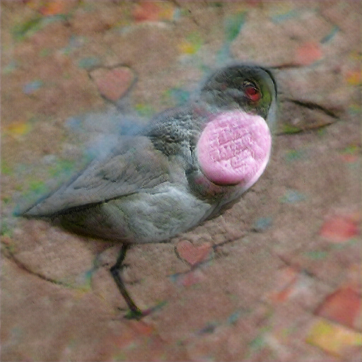 The bird might be some sort of shorebird? The candy is an embossed circle on its breast, embossed with three lines of illegible text.
