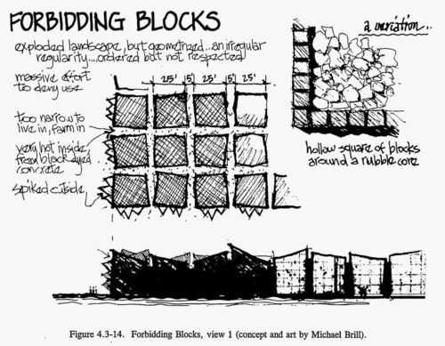 """Forbidding Blocks: house-sized irregularly-shaped blocks arranged in a grid 2 meters apart. """"Very hot inside, from black dyed concrete"""", """"spiked outside"""", """"too narrow to live in, farm in"""" (concept and art by Michael Brill)"""