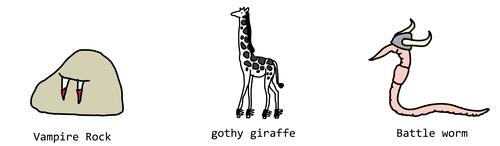 vampire rock, gothy giraffe, battle worm