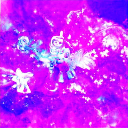 The background is vividly magenta and two figures in the foreground might be ponies, and one of them might even be in a space helmet with a unicorn horn. Definitely requires some imagination.