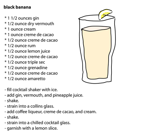 black banana  * 1 1/2 ounces gin  * 1/2 ounce dry vermouth  * 1 ounce cream  * 1 ounce creme de cacao  * 1/2 ounce creme de cacao  * 1/2 ounce rum  * 1/2 ounce lemon juice  * 1/2 ounce creme de cacao  * 1/2 ounce triple sec  * 1/2 ounce grenadine  * 1/2 ounce creme de cacao  * 1/2 ounce amaretto   - fill cocktail shaker with ice.  - add gin, vermouth, and pineapple juice.  - shake.  - strain into a collins glass.  - add coffee liqueur, creme de cacao, and cream.  - shake.  - strain into a chilled cocktail glass.  - garnish with a lemon slice.