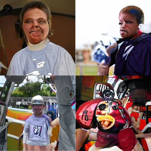 Four generated images. Upper two are people, neither of whom are wearing football helmets (although their hair may be a bit weird; hard to tell since the rest of them is so weird too). Lower left is wearing what appears to be a metallic baseball cap. Lower right… lower right is a football helmet crossed with a buck-toothed cartoon fish.