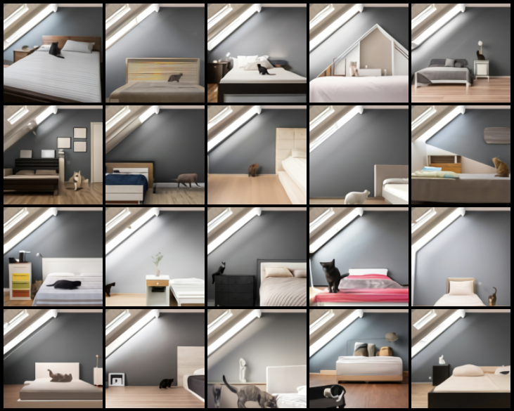 The loft window is similar in all cases and there is usually a bed of some sort, but very often the cat is not standing beside the bed but sitting or lying on the bed. Or even standing on the bed looking curiously at the camera.
