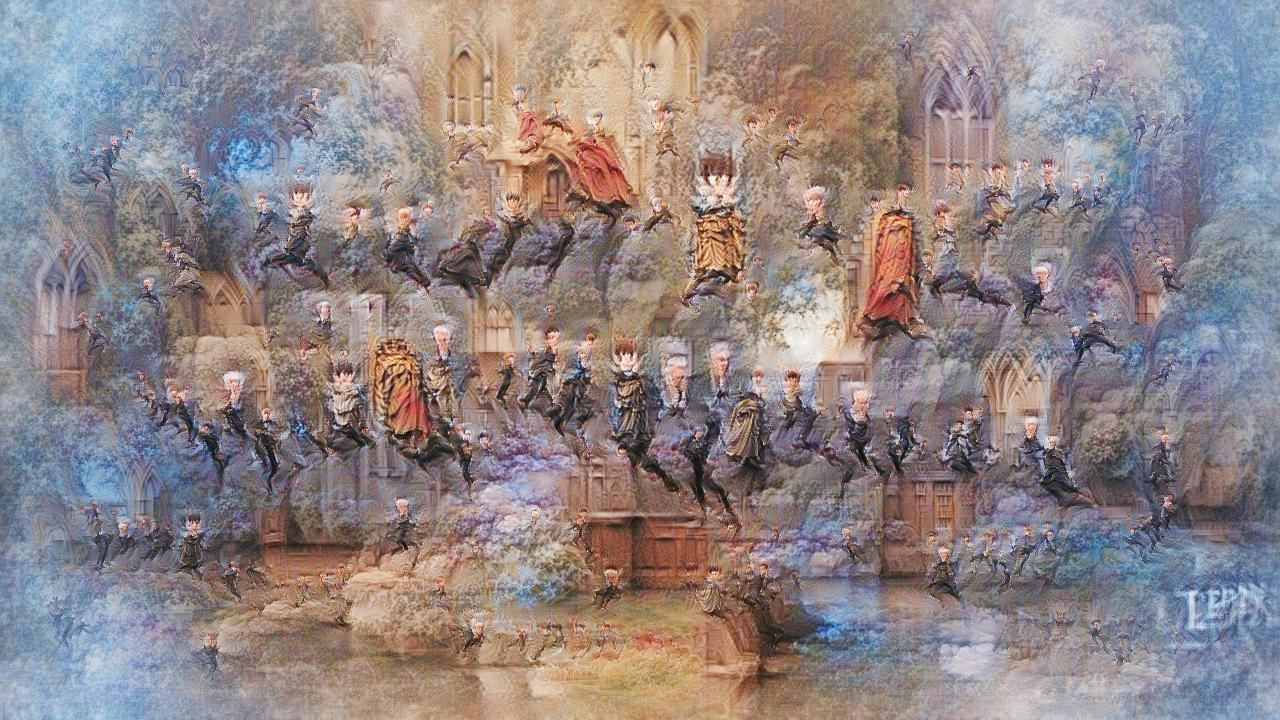 A gothic parliament-like hall with a bunch of whitehaired figures in business suits leaping high into the air, like one of those fun wedding photos.