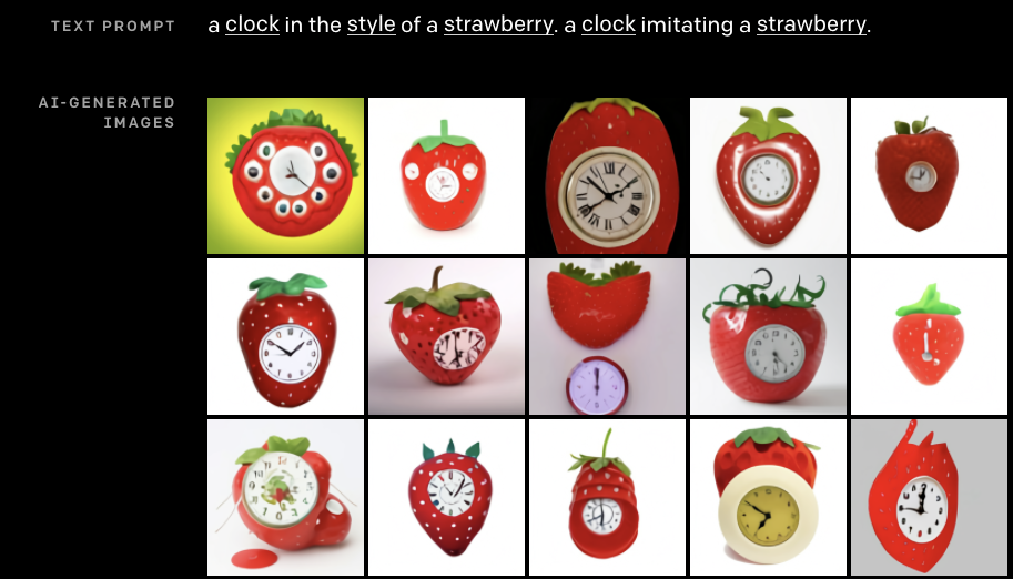 Prompt: a clock in the style of a strawberry. a clock imitating a strawberry. Images: All strawberry red with bright green tops, most of which have clock faces. The strawberries tend to have a cheerful plastic sheen. The clock faces tend to have extra hands and melting letters.