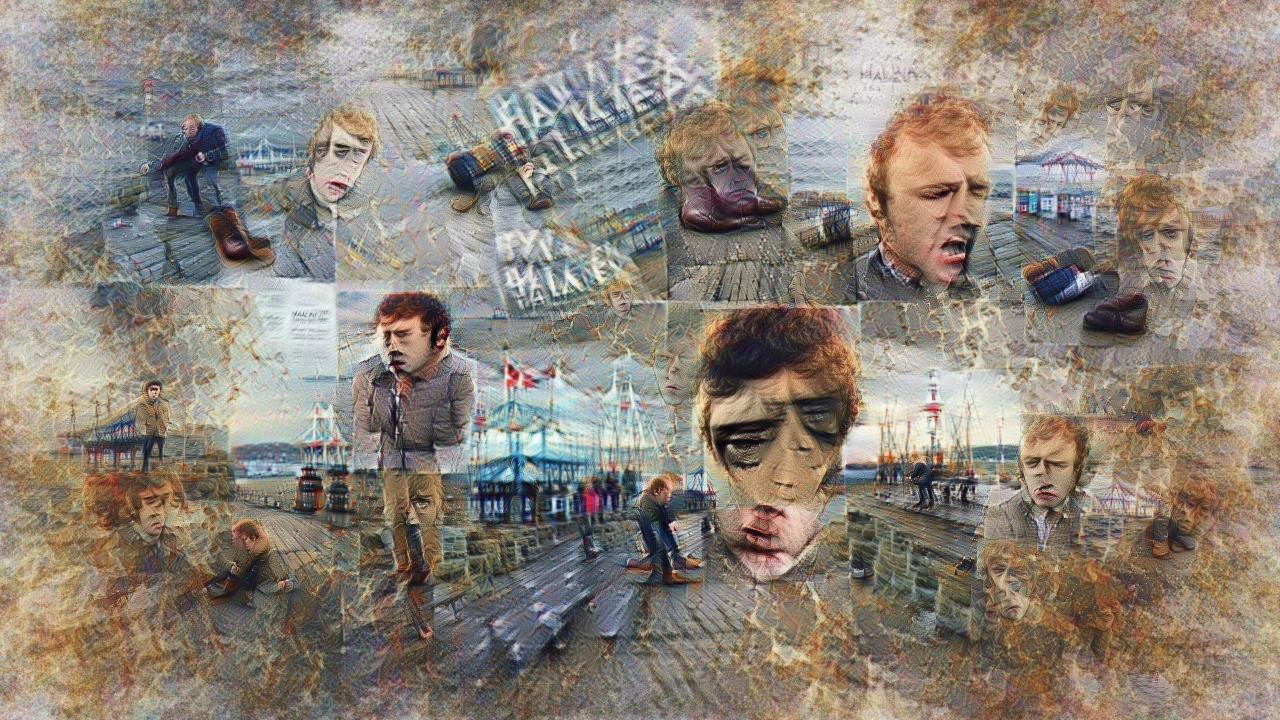 There are sad-looking people with red hair in 18th century muttonchops, looking down at a rain-soaked pier from various angles. Some pavillions, sea, and low green islands in the distance.
