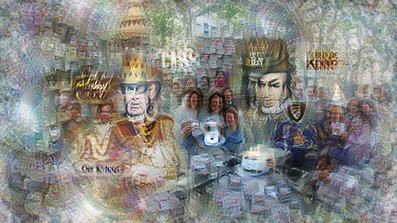 Many copies of a person in ruffled collar and crown, surrounded by smiling crowds in more ordinary gear. There is a cake with lit candles, and also a single shining CD.