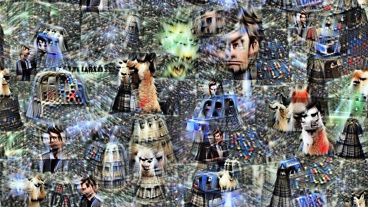 David tennant is clearly visible (at least the left half of his face) frowning. Daleks and tardises seem to merge into segmented blue cones. The llamas are kind of dalek-shaped furry blobs. There are EXCESSIVE numbers of lasers for some reason.
