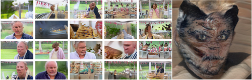left: collage of neural net generated GBBO images. At first glance the 20 photos in this grid look like screenshots from the Great British Bakeoff. But upon slightly closer inspection, the humans all have vague faces (or none at all), and the background makes no geometric sense. Bread floats, or bubbles. The counters are chaotic. The backdrop is nice and green though. right: It's a person with a furry tortoiseshell face and cat ears. Their irises have gone strangely blonde. It is quite horrible.