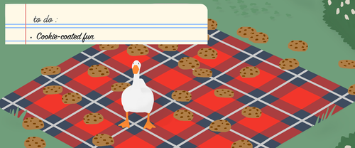 to do: cookie-coated fun. goose is standing on a picnic blanket surrounded by chocolate chip cookies