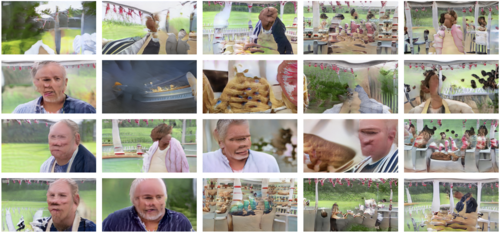 At first glance the 20 photos in this grid look like screenshots from the Great British Bakeoff. But upon slightly closer inspection, the humans all have vague faces (or none at all), and the background makes no geometric sense. Bread floats, or bubbles. The counters are chaotic. The backdrop is nice and green though.
