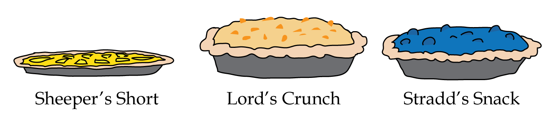 Sheeper's Short, Lord's Crunch, Stradd's Snack