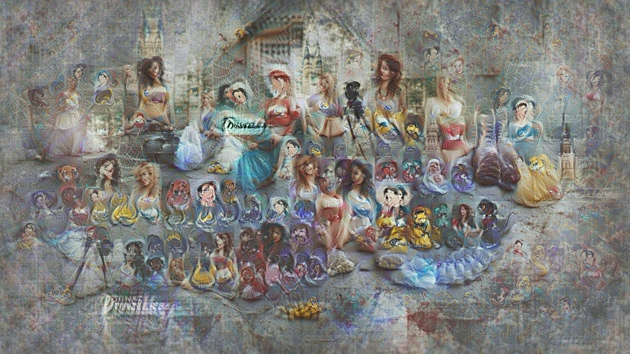 Rows of Disney princesses with weirdly emphasized bustlines, in front of pastel cottages and a blue-roofed castle. No individual character is identifiable, although they do have a Disney princess vibe to them. From a distance it's a crowd of princesses. Up close it's a crowd of nightmares.