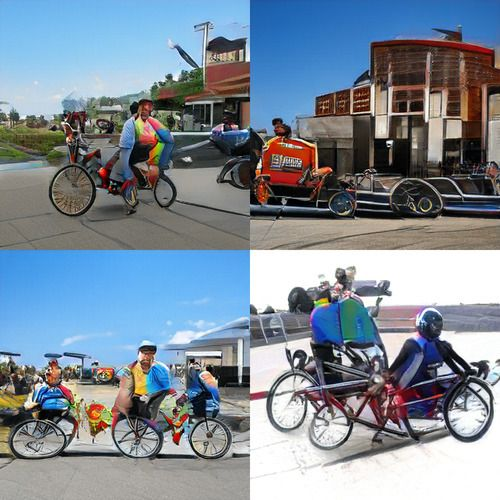Four images that are clearly some kind of many-wheeled bicycle objects. The wheels tend to be floppy with weirdly disconnected spokes, and sometimes the wheels are hovering. There are human-adjacent riders but it's tough to separate them form the bikes.