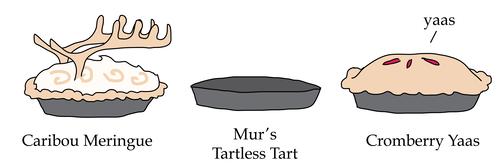 Caribou Meringue, Mur's Tartless Tart, and Cromberry Yaas