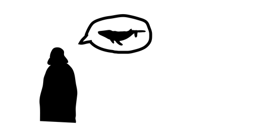 Silhouette of darth vader, seen from behind. Cartoon speech bubble from Vader has a whale in it.