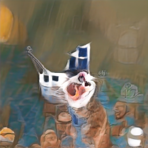It might be a white boat in the background and possibly an angry white cat with its mouth open in the foreground.