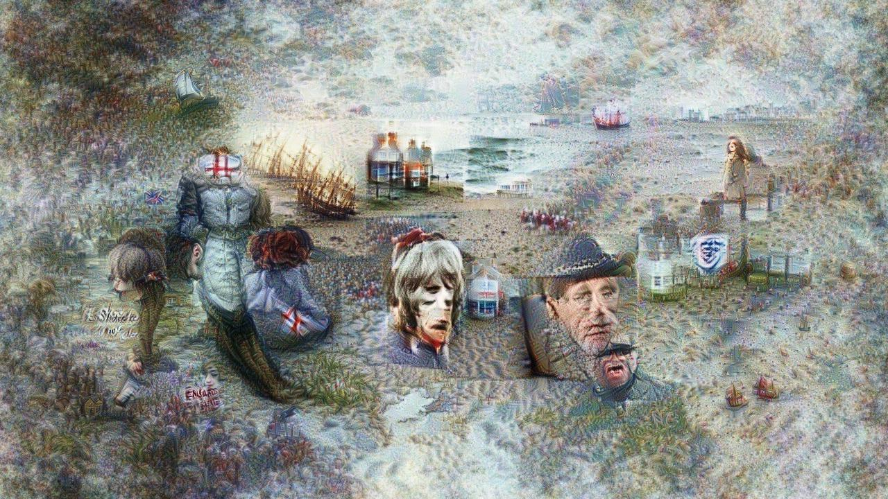 The image slides smoothly between seashore full of old tall ships, steep-roofed cottages overlooking the seashore, rolling waves, ships on rolling waves, more cottages, lots of wistful looking human figures (which have weirdly duplicated faces), all in a confusing collage whose perspective almost but not quite makes sense.