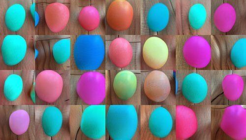 A grid of easter eggs - they are colorful and vaguely egg-shaped, but their proportions are a little bit off, and their edges are a bit wobbly.