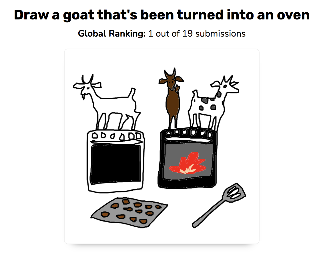 Draw a goat that's been turned into an oven. Global ranking: 1 out of 19 submissions. Sketch is of three goats standing on two ovens, a cookie sheet and a spatula nearby.